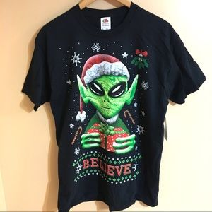 New Believe Alien Christmas T-shirt 2XL